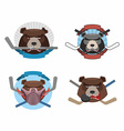 Hockey logo bear set Muzzle animals with sticks vector image