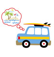 holiday time with blue car go to beach cartoon vector image