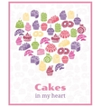 I love cakes Baking heart shaped sign vector image
