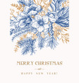 invitation card with winter bouquet vector image