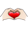 love heart made hand vector image vector image