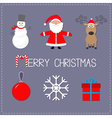 Merry Christmas set Snowman Santa Claus deer ball vector image