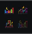 minimalist colorful cityscape building logo icon vector image