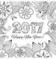 New year card with numbers 2017 on floral vector image vector image