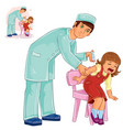 nurse doing an inoculation to a small girl vector image