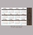 pocket calendar 2018 start on sunday vector image