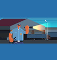 police officer using flashlight policeman in vector image vector image