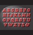 realistic red glass font vector image vector image