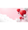 red and white hearts shaped balloons flying in sky vector image vector image