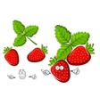 Red strawberry fruit cartoon character vector image vector image