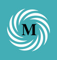 round emblem with letter m on blue background vector image