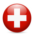 Round glossy icon of switzerland vector image vector image
