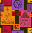 Seamless pattern of Buddhism signs vector image vector image