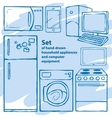 set hand-drawn household appliances and vector image