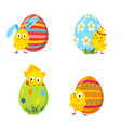 set of funny easter chickens and eggs vector image vector image