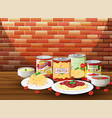 set of pasta with different sauce vector image vector image