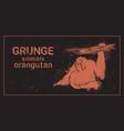 silhouette orangutan in grunge design style animal vector image vector image