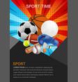 sport equipment poster design vector image vector image