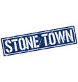 stone town blue square stamp vector image vector image