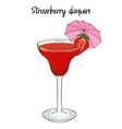 strawberry daiquiri cocktail with umbrella straw vector image vector image