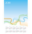 template of 2018 calendar on blue background vector image