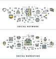 Thin Line Social Network and Social Marketing vector image
