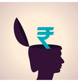 Thinking concept-Human head with rupee symbol vector image