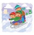 Three little boys roll together on sled from a vector image vector image