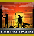 under construction worker silhouette at sunset vector image vector image