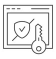 verified secure site thin line icon computer vector image vector image