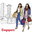 woman and man with shopping bags on orchard road vector image vector image