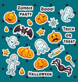 collection of halloween stickers in cartoon vector image