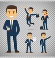 businessman cartoon character in different poses vector image