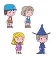 Retro cartoon kids children boys and girls icons vector image