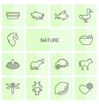 14 nature icons vector image vector image