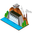 3d design for dam and river vector image vector image