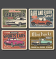 auto service vintage cars repair and showroom vector image vector image