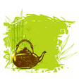 Bamboo branch and teapot vector image vector image