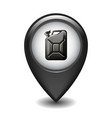 black glossy style map pointer with canister vector image