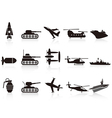 black war weapon icons set vector image