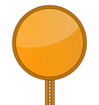 Blank Orange Round Road Sign vector image
