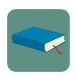 Blue book with bookmark flat icon vector image vector image