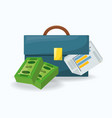 briefcase and bill over a white background vector image vector image