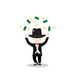 cartoon little boy wearing suit and black top hat vector image