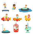children ride on attractions in the amusement park vector image