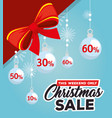 christmas sale label with balls hanging vector image