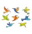colorful hummingbirds symbols or icons vector image vector image