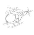 colorless funny cartoon helicopter vector image vector image