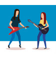couple playing electric and acoustic guitar vector image vector image