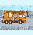 crane truck in city vector image vector image